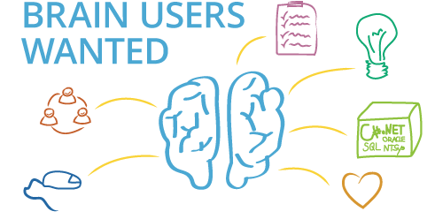 "We are hiring with image of brain and tools. Text: ""Brain User Wanted"""