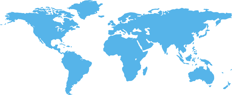 World map, cableScout®-blue. cableScout: Kabelmanagement-Software / cable management software worldwide appearance